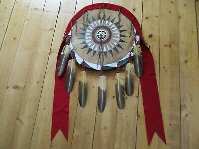 "Native American Ceremonial Leather Shield, Painted ""Black War Bonnet"", Sd-03693"