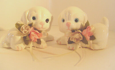 Puppy Dog Figurines White Porcelain Floral Flowers Puppies China Set/2 Vintage