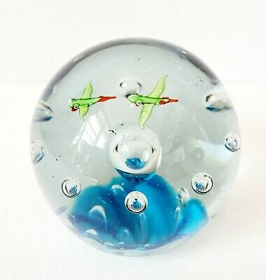 Round Blown Art Glass Paperweight with Controlled Bubbles & Birds / Flower