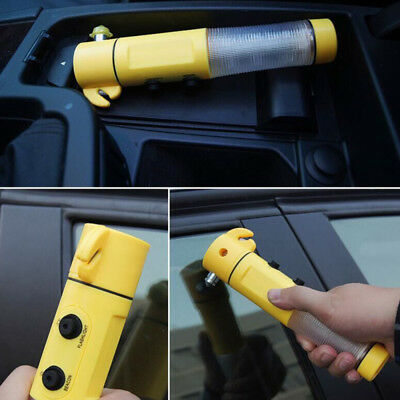 Car Auto Safety Emergency LED Torch Flashlight Hammer Belt Cutter Escape Tools