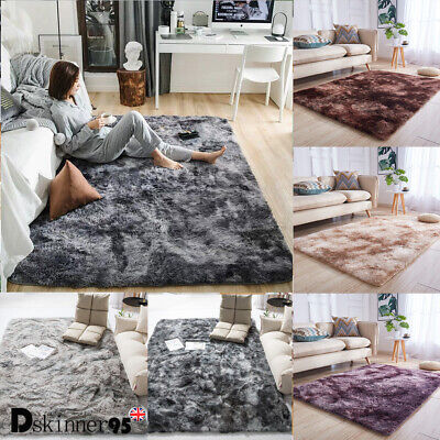 3M Fluffy Rugs Anti-Skid Shaggy Area Rug Dining Room Carpet Floor Mat Bedroom UK