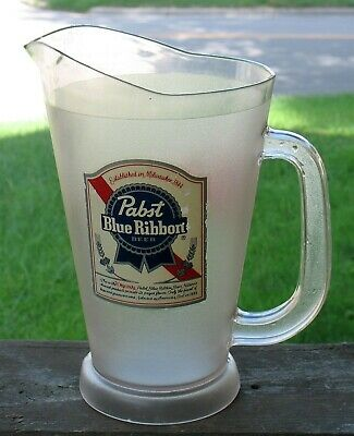 Pabst Blue Ribbon Beer Pitcher Frosted Plastic 60oz