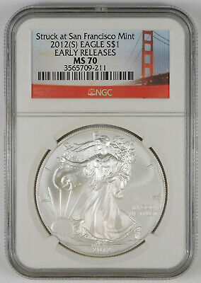 2012-(S) $1 American Silver Eagle - NGC MS 70 - Early Releases- Trolley Label
