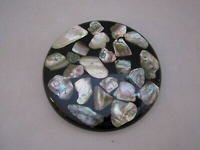 """Trivet Lucite with Abalone Shells. 5-1/2"""". 1974 Design Gifts. Mid Century"""
