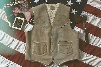 Vintage 1970s Cowboy Western Leather Horse Branded Sherpa Lined Vest XL