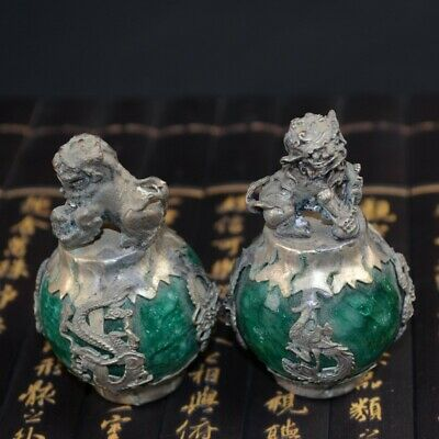 Chinese Silver Dragon Inlaid Green Jade Hand Carved Pair Lion Statue Exquisite