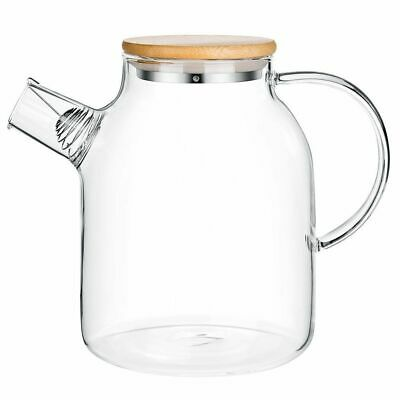 1.8 Liter GLASS JUG With Bamboo Lid Water Drink Pitcher Carafe Kitchen Table Ice