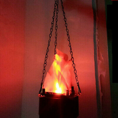 Halloween Prop LED Hanging Fake Flame Lamp Torch Light Fire Pot Bowl Decor NEW