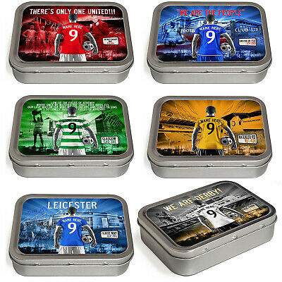 Football Tobacco Tin 2oz Baccy Storage Pill Box Mens Personalised ALL TEAMS