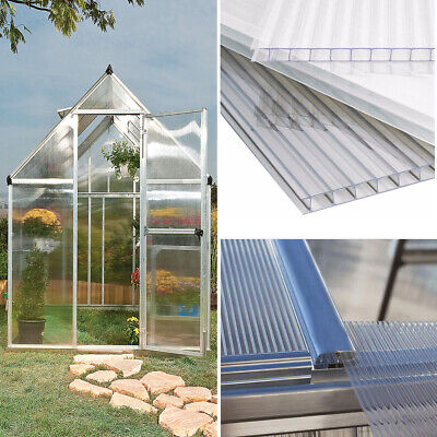 Polycarbonate Sheet 4mm Greenhouse Shed Clear Glazing Twin Wall Panel Pack of 6