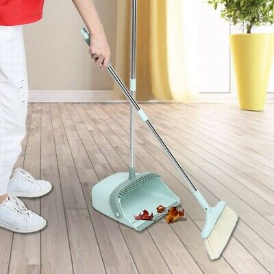 Long Handled Dustpan Broom Set Dust Pan Brush Indoor Outdoor Cleaner Sweeping