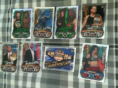 Topps Wwe Slam Attax Live X2 Rivals + X1 Champion + Shiney Cards Rare Bundle
