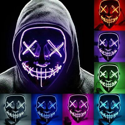 Mask Halloween Led El Wire Maschera Neon Rave Purge Party Costume Cosplay Festa