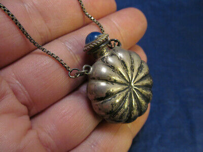 """*Vintage Sterling Silver Perfume Bottle Pendant Necklace on Chain 33"""""""