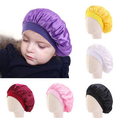 Kids Baby Silky Satin Bonnet Cap Turban Chemo Hat Elastic Bands Night Sleep Cap-