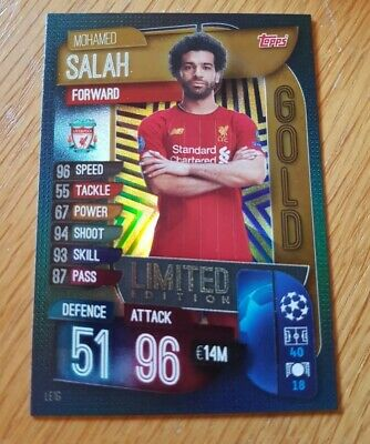 Match Attax Champions/Europa League 2019/20 Salah Gold Limited Edition LE1G Mint