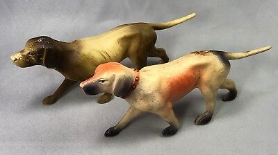 2 CELLULOID Hunting DOGS POINTER Vintage Original Toy