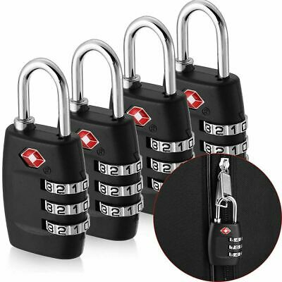 4x TSA Approved Luggage Lock Travel 3 Digit Combination Suitcase Padlock Reset