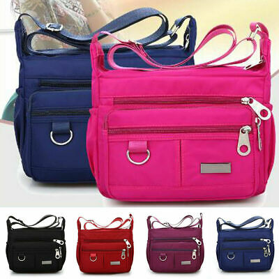 Womens Ladies Messenger Handbag Multi Pocket Shoulder Zipper Bag Cross Body Bags