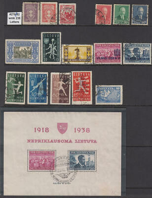 Lithuania 1931-1940 hi val selection 16 diff stamps & 1 S/S cv $74.15