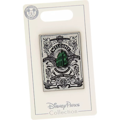 Disney Parks Haunted Mansion Welcome Foolish Mortals Poster Trading Pin New