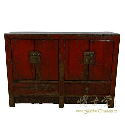 Antique Chinese Red Lacquered Twin Cabinet, Sideboard