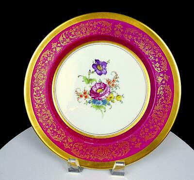 """PARAGON CHINA MAROON AND GOLD FILIGREE FLORAL CENTER 10 1/2"""" DINNER PLATE 1940's"""