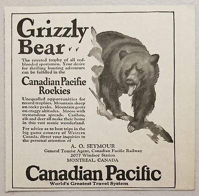 TRAVEL BEAR HUNTING CANADIAN PACIFIC CANADA VINTAGE POSTER ART PRINT 947PY