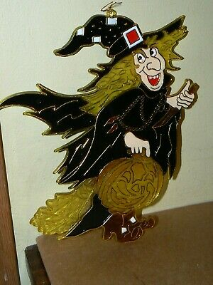 Vintage Plastic Stained Glass Halloween Sun Catchers Witch & Black Cat