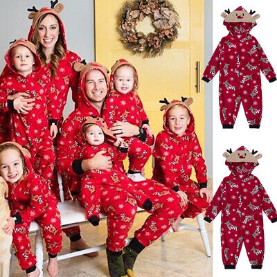 Family Christmas Pajamas Set Xmas Matching Pyjamas Adult Kids Sleepwear Red Elk