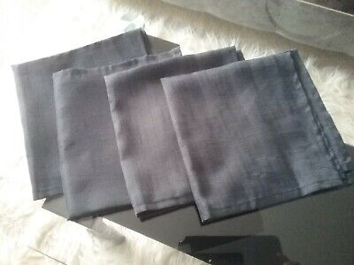 Set of 4 charcoal grey fabric linen effect serviette napkins washed but not used