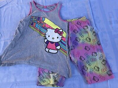 Used Preowned Hello Kitty Girls Kids Pajamas Size XL