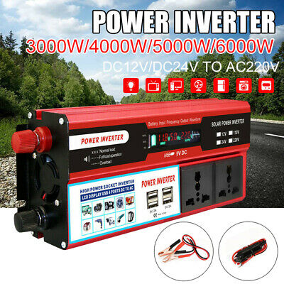 6000W Solar Power Inverter DC 12/24V to AC 220V Car Sine Wave Converter w/ 4 USB