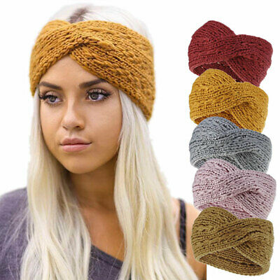 Elastic Crochet Knitted Wool Ear Warmer Cross Headband Women Headwrap Hairband U