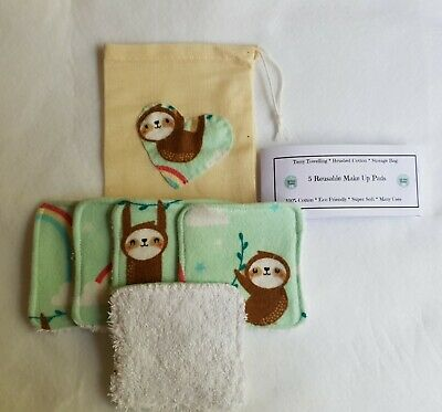Make Up Remover Pads REUSABLE washable 100% cotton facial cleanse tone SLOTH
