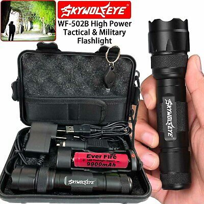 High Power WF-502B 200000LM Flashlight T6 LED Tactical Military Torch Headlamp