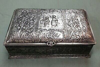 1899 Silver Plated Wood Lined Cigarette Box Derby S.p. Co International