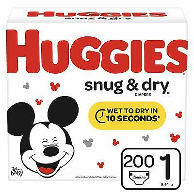 Huggies Snug & Dry Baby Diapers, Size 1 (fits 8-14 lb.), 200 Count Count, Giant