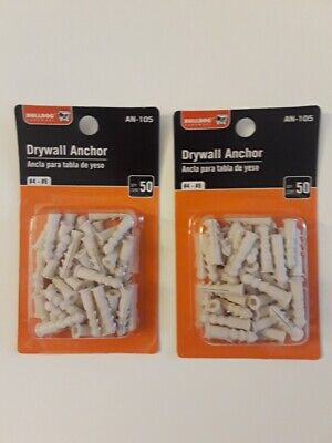 2 Pk Drywall Anchors 50 Pieces Each Plastic Hollow Wall for #6 Screws 3/16 Pilot