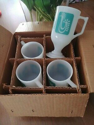 Federal Milk Glass Turquoise Danish Rooster Continental Pedestal Mugs Cups New