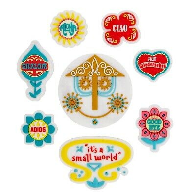 Disney Parks It's A Small World Clock Hello Goodbye 8 Pc Magnet Set NEW