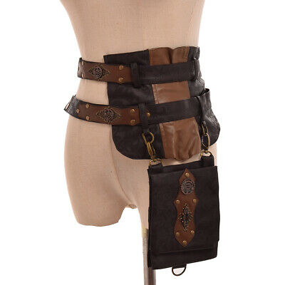 Steampunk Knight Waist Bag  Motorcycle Package Belt Pack Retro Brown Leather