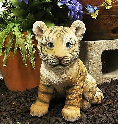 """9.25""""H Realistic Bengal Orange Tiger Cub Statue With Glass Eyes Jungle Tigers"""