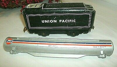 Vintage Toy Tin Union Pacific Coal Car, Tyco Gulf Tank For Railroad Car