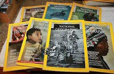 National Geographic Magazine 7 Issues from 1970 & 1971 No Maps or Supplements