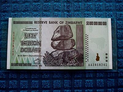 50 Trillion Dollars Zimbabwe Banknote AA 2008 Authentic UNC Currency #8242