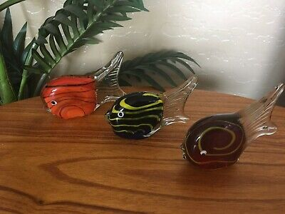 Set of 3 Vintage Hand-blown Murano Glass Angelfish Paperweight Figurines