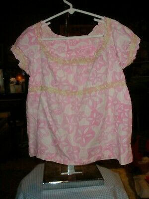 Lilly Pulitzer Pink Floral Smocked Top Shirt Blouse 6