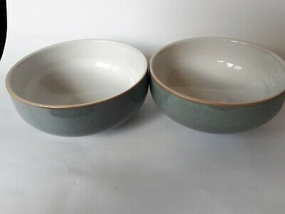 2 denby jet gray soup bowls never used price tag on bottom.