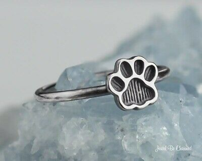 DOG CAT PAW Print 2 Hearts Sterling Silver  925 Fashion Ring